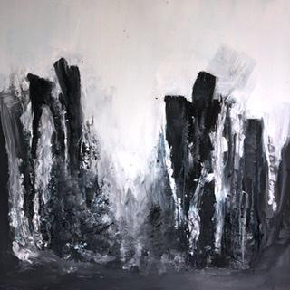 Schwarz.Weiß.Grau - Acryl Asche Mischtechnik - 80 x 60