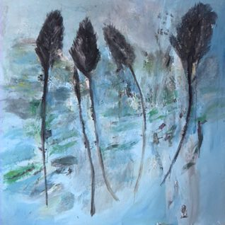 Die vier Federn - Acryl auf Leinwand - 140 x 140