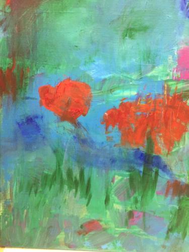 Mohn am Wasser - Acryl auf Leinwand - 60x40