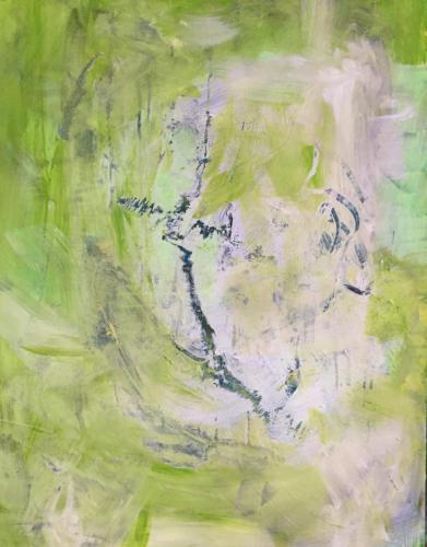 Grün im Garten -Acryl/Mischtechnik  auf Malkarton 60x80