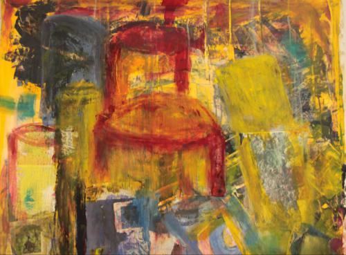 Stühle nach van Gogh - Acryl/Collage Mischtechnik auf Leinwand (ohne Rahmen) - 86x80
