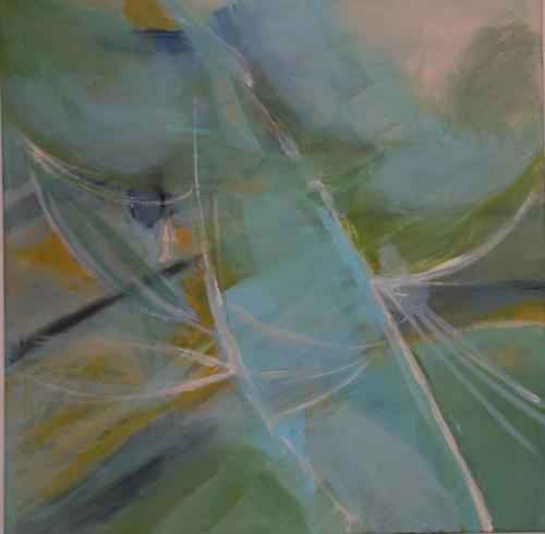 Junge Blätter - Acryl auf Leinwand - 80x80
