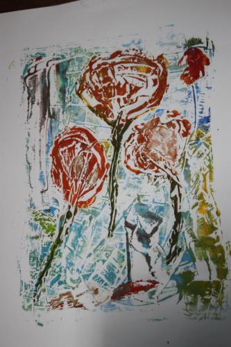 Flowers - Öldruck auf Papier - 70x100